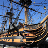 Photo of the preserved HMS Victory in Portsmouth Dockyard, UK.